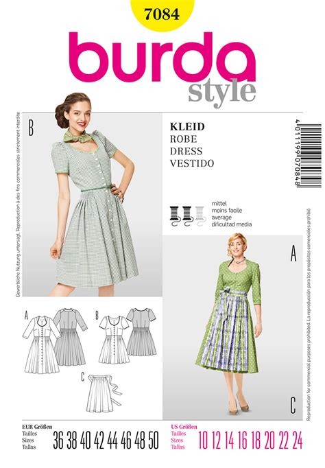 pattern review best patterns 2013 burda 7084 misses dress and apron sewing pattern
