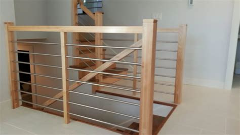 custom banisters maple railing with stainless tubing mystairways