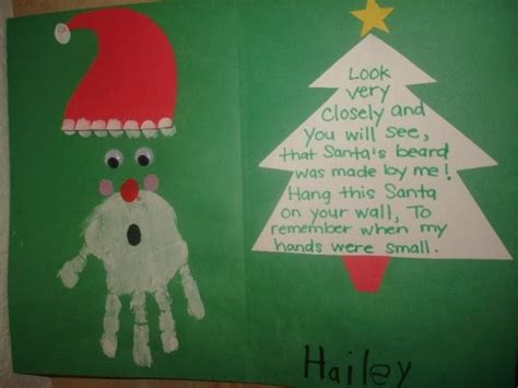 christmas cards ideas preschool daily of a to a princess handprint santa w poem