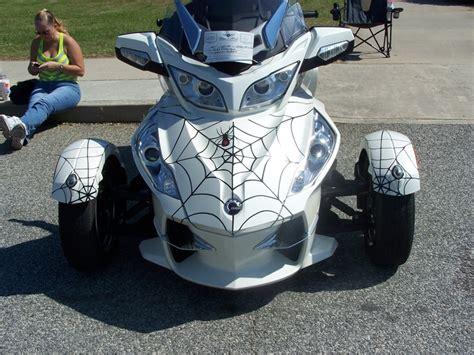 Cam Am Spyder RT LTD with spider webs.   Can Am Spyder