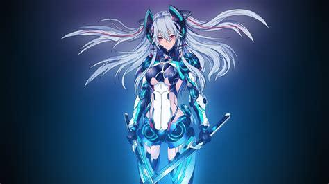 anime girl white hair wallpaper mecha girl white hair swords anime desktop wallpaper