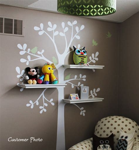 Wall Decals Baby Nursery Decor Shelving Tree By Simpleshapes Etsy Wall Decals Nursery