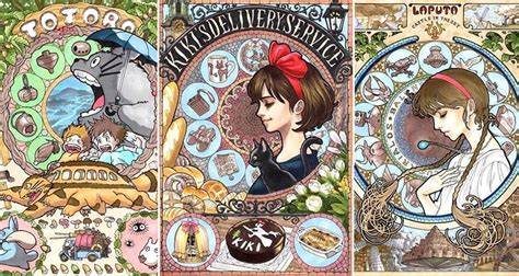 Creative Bedroom these art nouveau versions of studio ghibli characters are