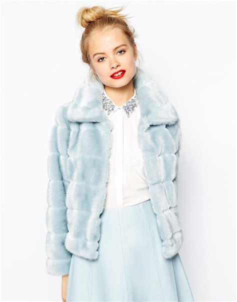 faux fur swing jacket asos faux fur swing jacket in blue lyst