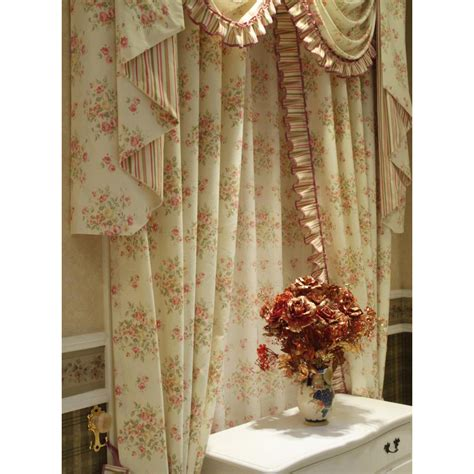 shabby chic curtains thick floral light beige shabby chic curtains