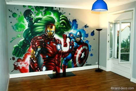 fresque marvel avengers realisee dans la chambre de thomas