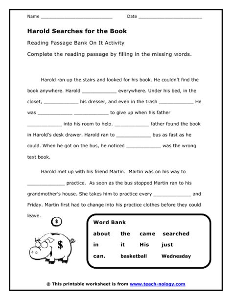 printable language art worksheets harold searches for the book bank on it