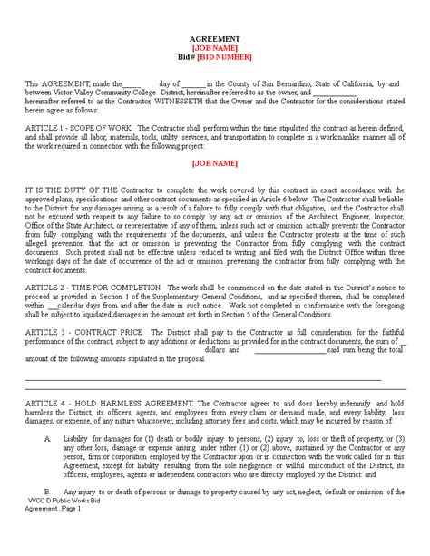 Contractor Hold Harmless Agreement | Templates at