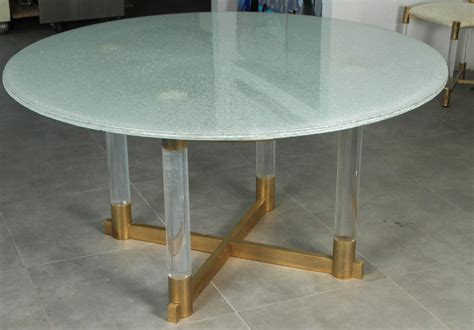 Crackle Glass Top Dining Table Crackled Glass Dining Table With A Base Of Lucite And Brass For Sale At 1stdibs