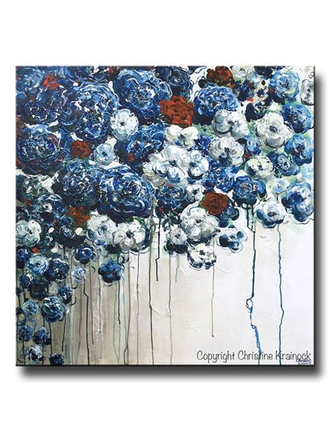 red and blue home decor original art abstract blue flowers painting textured red