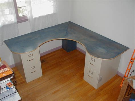diy corner desks wraparound desk made from one sheet of plywood 2 filing cabinets