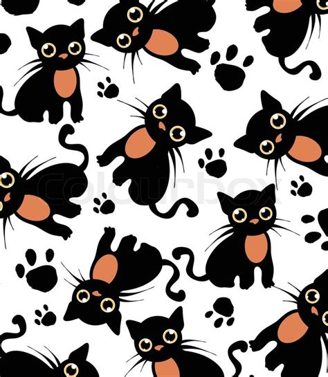 cat vector wallpaper beautiful background with black cats and paws pattern