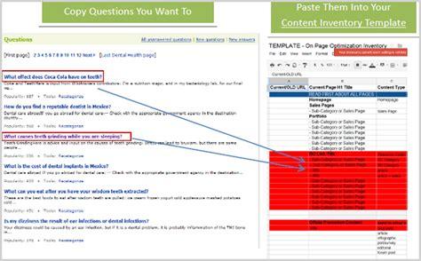 Content Ideas Question Answers Webbizideas Website Inventory Template