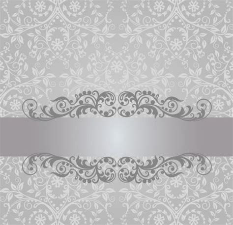 silver wedding invitation background floral damask vintage invitation background vector 02 free