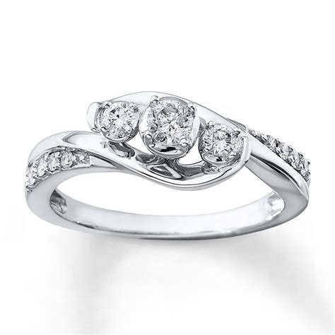 3 ring 1 3 ct tw cut 10k white gold
