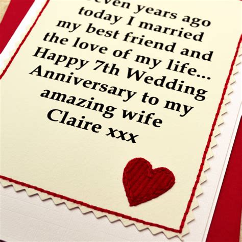 7 Year Wedding Anniversary Card by Personalised 7th Wedding Anniversary Card By Arnott