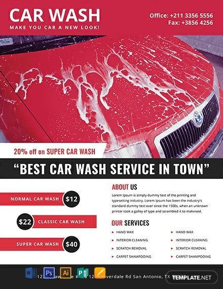 car wash flyer templates word  psd