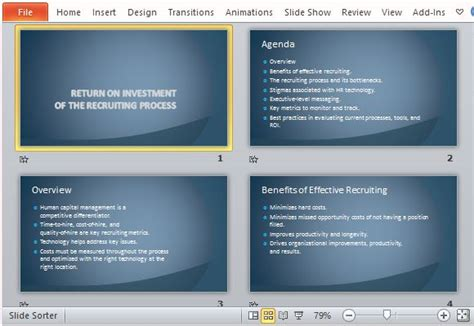 Recruiting Process Return On Investment Template For Powerpoint Recruiting Text Templates
