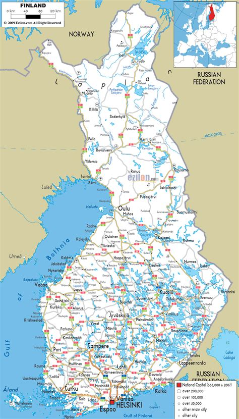 all maps large detailed road map of finland with all cities and