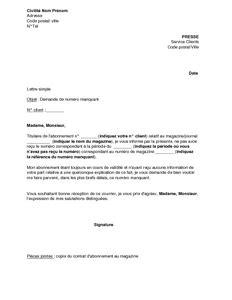 exemple gratuit de lettre demande un num 233 ro presse
