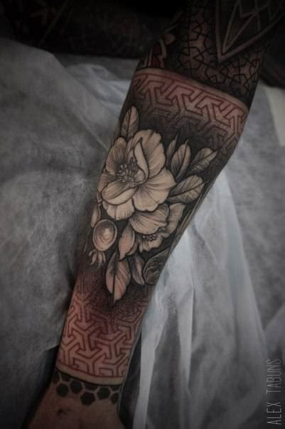tattoo geometric background illustrative flower tattoo with a red geometric
