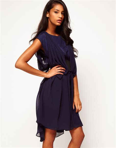asos collection asos chiffon dress with wide belt and