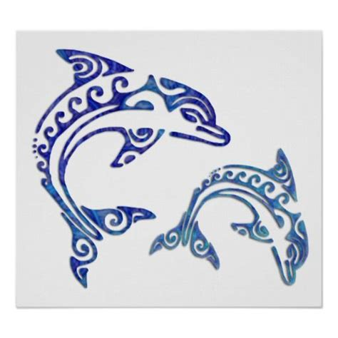 dolphin tribal tattoo tribal porpoise duo poster hibians and