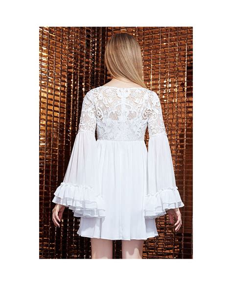 Chiffon Lace Dress white lace chiffon dress with sleeves gemgrace