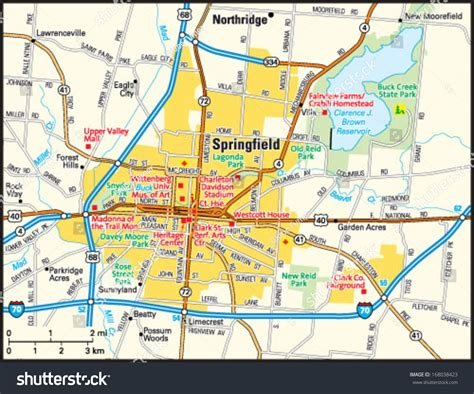 show me a map of ohio springfield ohio area map stock vector 168038423