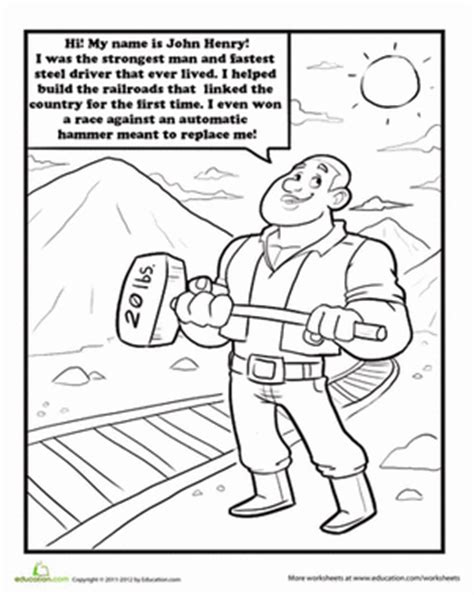 john henry coloring page education com