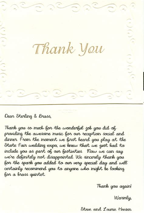 Thank You Letter For It Sterling Brass The Lake Country Brass Quintet