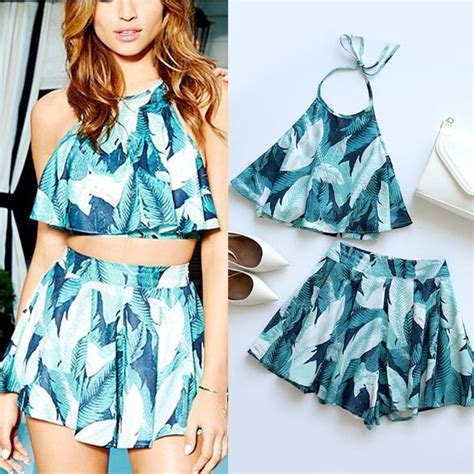Printed Two Pcs summer backless green leaves printed crop halter top