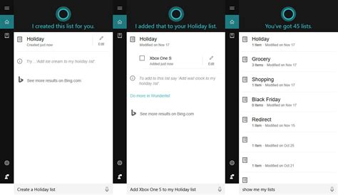 devait cortana do you want to show me your face how to use cortana to create to do and shopping lists on