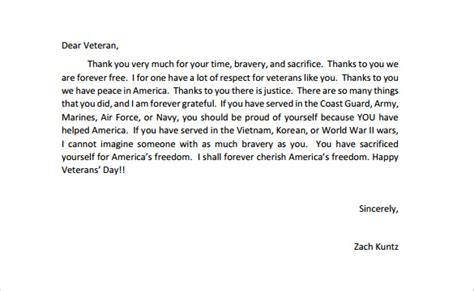 appreciation letter to veterans 17 thank you letter templates free sle exle