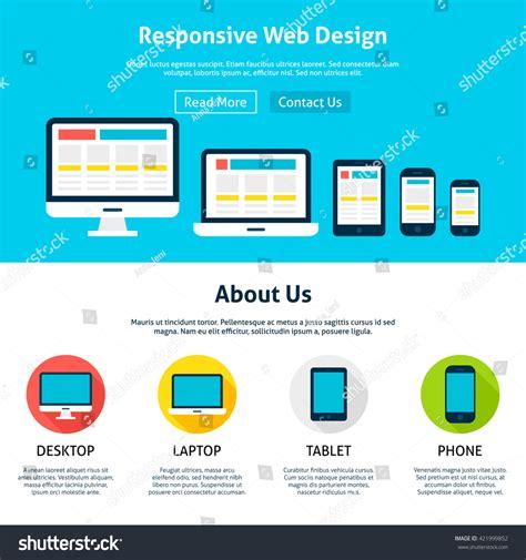 responsive header design exles responsive flat web design template vector stock vector