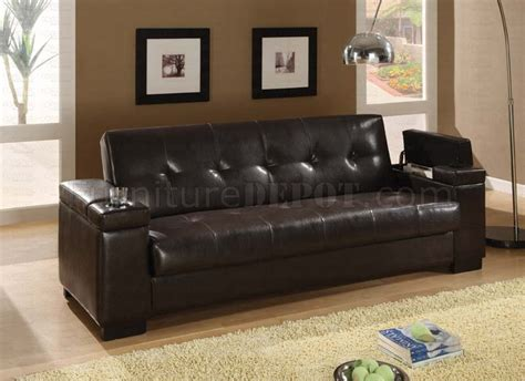 hidden sofa bed dark brown vinyl contemporary sofa bed w hidden storage