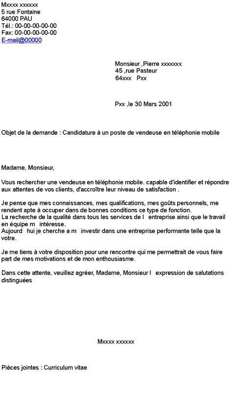 Lettre De Motivation Vendeuse Spontanée candidature 224 un poste de vendeuse en t 233 l 233 phonie mobile