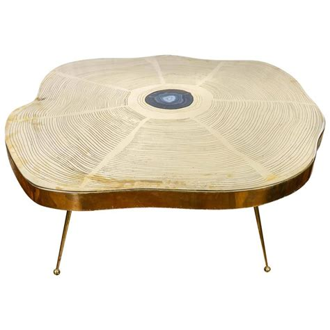 free form brass and agate coffee table for sale at 1stdibs