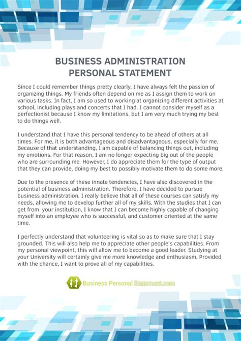 Best Resume Statements by Personal Statement Business Management Examples