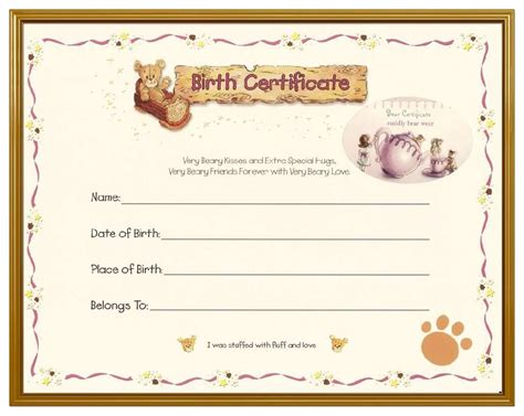 birth certificate template free blank birth certificate template mughals