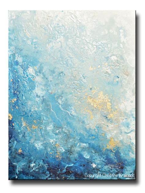 Painting White custom for original modern blue abstract