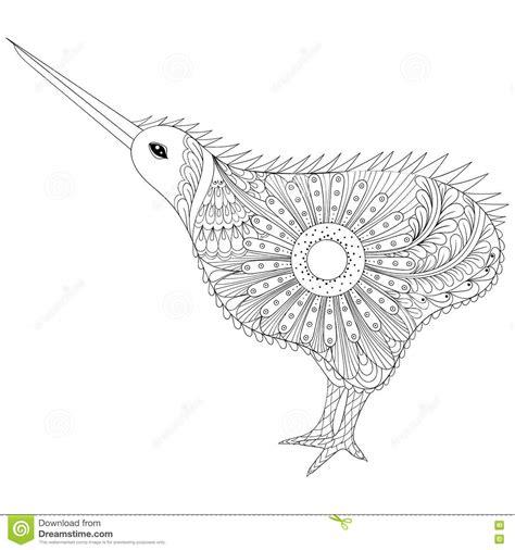 anti stress colouring book nz kiwi bird icon vector illustration cartoondealer