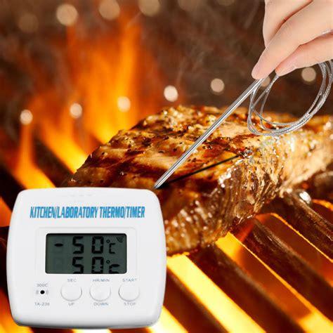 food heat l temperature digital timer thermometer alarm clock kitchen cooking bbq