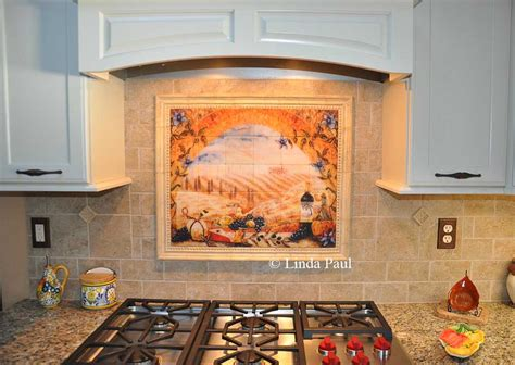 kitchen backsplash mural tile murals tuscany backsplash tiles