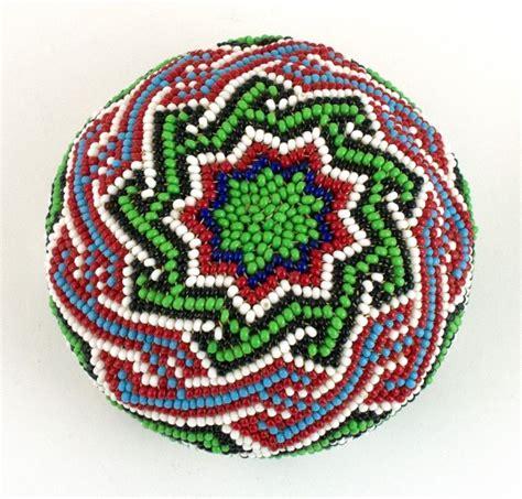 beadwork green paiute beaded basket green design on white other