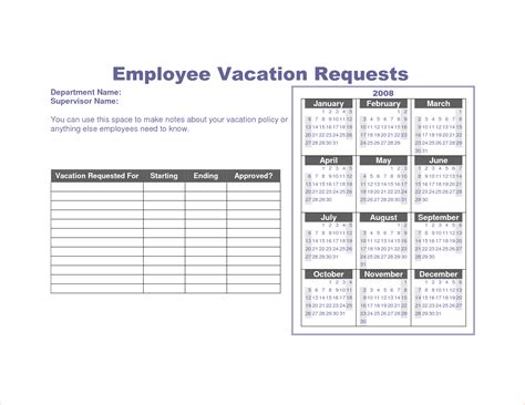 vacation roster template 7 vacation schedule template procedure template sle