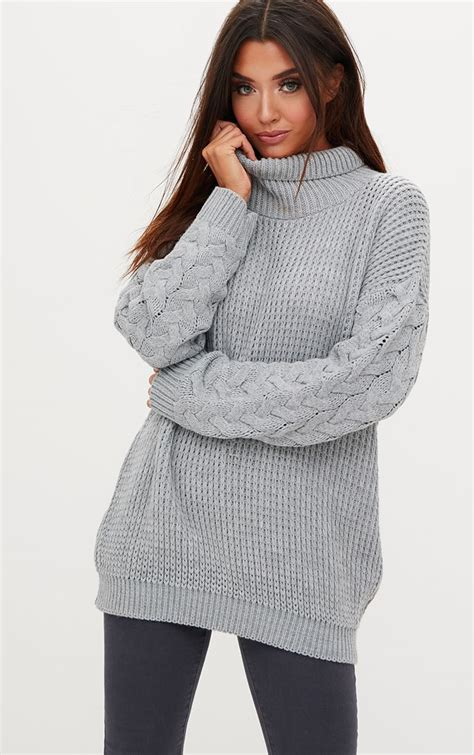 Cable Knit Sleeve Dress grey cable knit sleeve jumper dress dresses