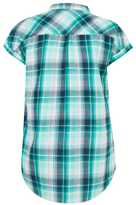 Metallic Detail Shirt Blue blue green pastel checked shirt with grown on