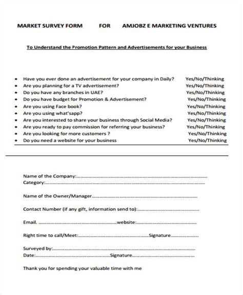 marketing survey template survey form exle