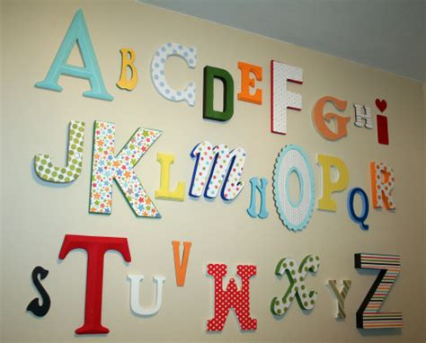 alphabet nursery room decor with wall letters